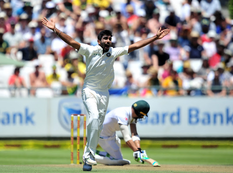 Jasprit Bumrah of India appeals unsuccessfully for the wicket of Faf du Plessis of South Africa during day 1 of the 2018 Sunfoil Test Match between South Africa and India at Newlands Cricket Ground, Cape Town on 5 January 2018.