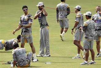 Photo: Pakistan's cricket players take part in a practice session ahead of the fourth one day international cricket match against Sri Lanka in Colombo, Sri Lanka, Friday, June 15, 2012. (AP Photo/Eranga Jayawardena)