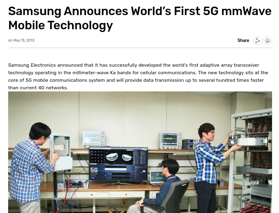 This is a Screenshot of Samsung Newsroom regarding Samsung's 5G development Back in 2013.