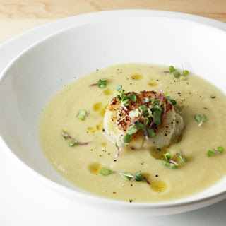 Parsnip, Pear and Maple Soup with Seared Scallops