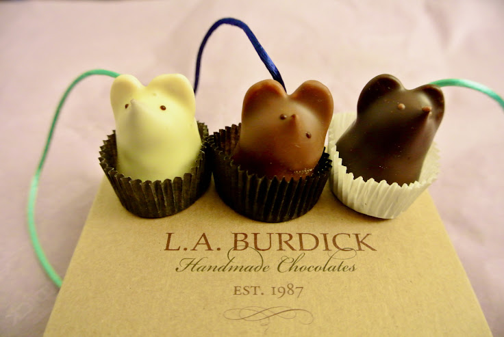 Chocolate mice, complete with tails, from L.A. Burdick. Photo: Davina.