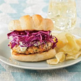 Blackened Grouper Burgers with Red Cabbage Slaw.