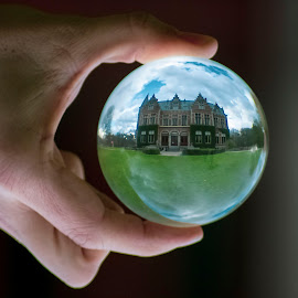 Vrieselhof inside a crystal ball by Paula NoGuerra - Artistic Objects Glass ( lensball, crystalball, historical, belgium, building, architecture )