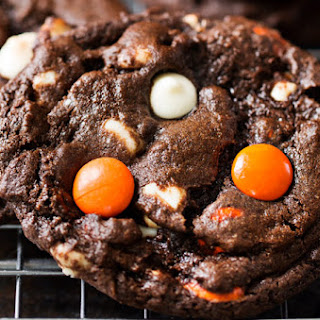 Peanut Butter Candy Double Chocolate Cookies.