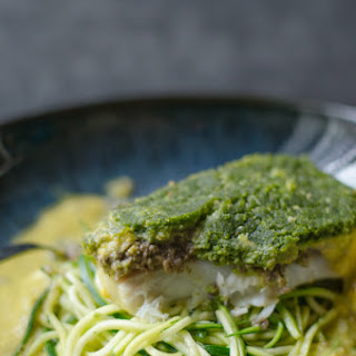 Poached Cod with Mushroom Duxelles and a soft herb crust