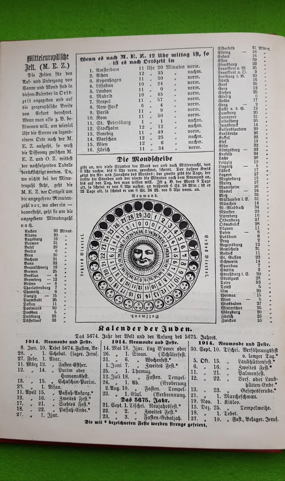 Großer Volkskalender des Lahrer hinkenden Boten - 1914 - jüdischer Kalender, Mondkalender