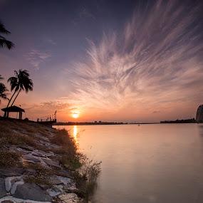 Sunrise under Flyer by Sherry Zhao - Landscapes Sunsets & Sunrises ( clouds, landscap, riv, travel, sunrise, singapore )