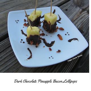Dark Chocolate Pineapple Bacon Lollipops.