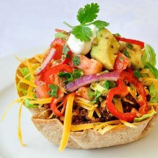 Low Fat Taco Salad with Chunky Avocado Tomato Salsa.