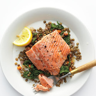 Wild Salmon with Lentils and Arugula