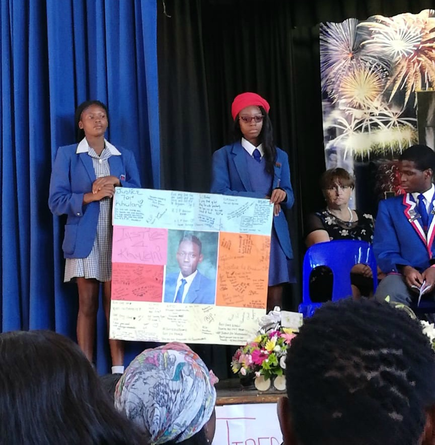 Mondeor High School pupils remembered classmate Kulani Mathebula at a memorial service on Friday.
