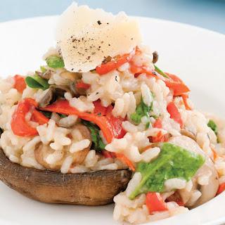 Portobello Mushrooms Stuffed with Risotto.