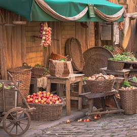 Old Market by Darrell Evans - City,  Street & Park  Markets & Shops ( basket, onion, vegetable, building, cart, apple, path, cobblestone, street, beet, table, wicker, old, display, cobbles, walkway, stall, beetroot, stone, market, outdoor, sale, healthy, tasty, no people )
