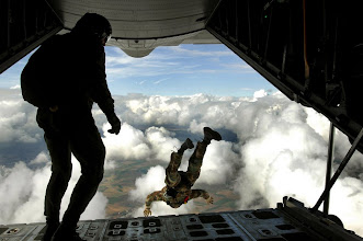 Photo: Preparing for an upcoming mission, pararescuemen jump out the back of a C-130 Hercules during jump training Sept. 24 over southwestern Germany.  They are with the 786th Security Forces Squadron. (U.S. Air Force photo/Airman 1st Class Kenny Holston)