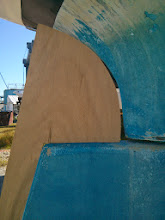 Photo: close up of rudder addition with rudder turned approx. 25 degrees to starboard