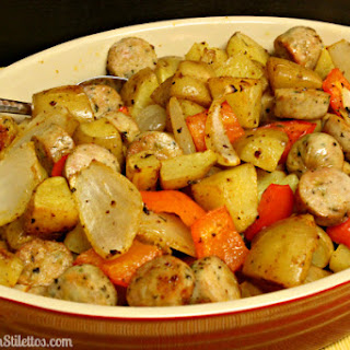 Roasted Potatoes Chicken Sausage and Peppers