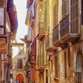 The old town by Orkidea W. - City,  Street & Park  Street Scenes ( #architecture #cities #mallorca #old town #orkidea #palma #spain #balreas,  )