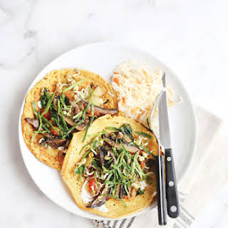 Chickpea Crepes with Balsamic Glazed Portabellos.