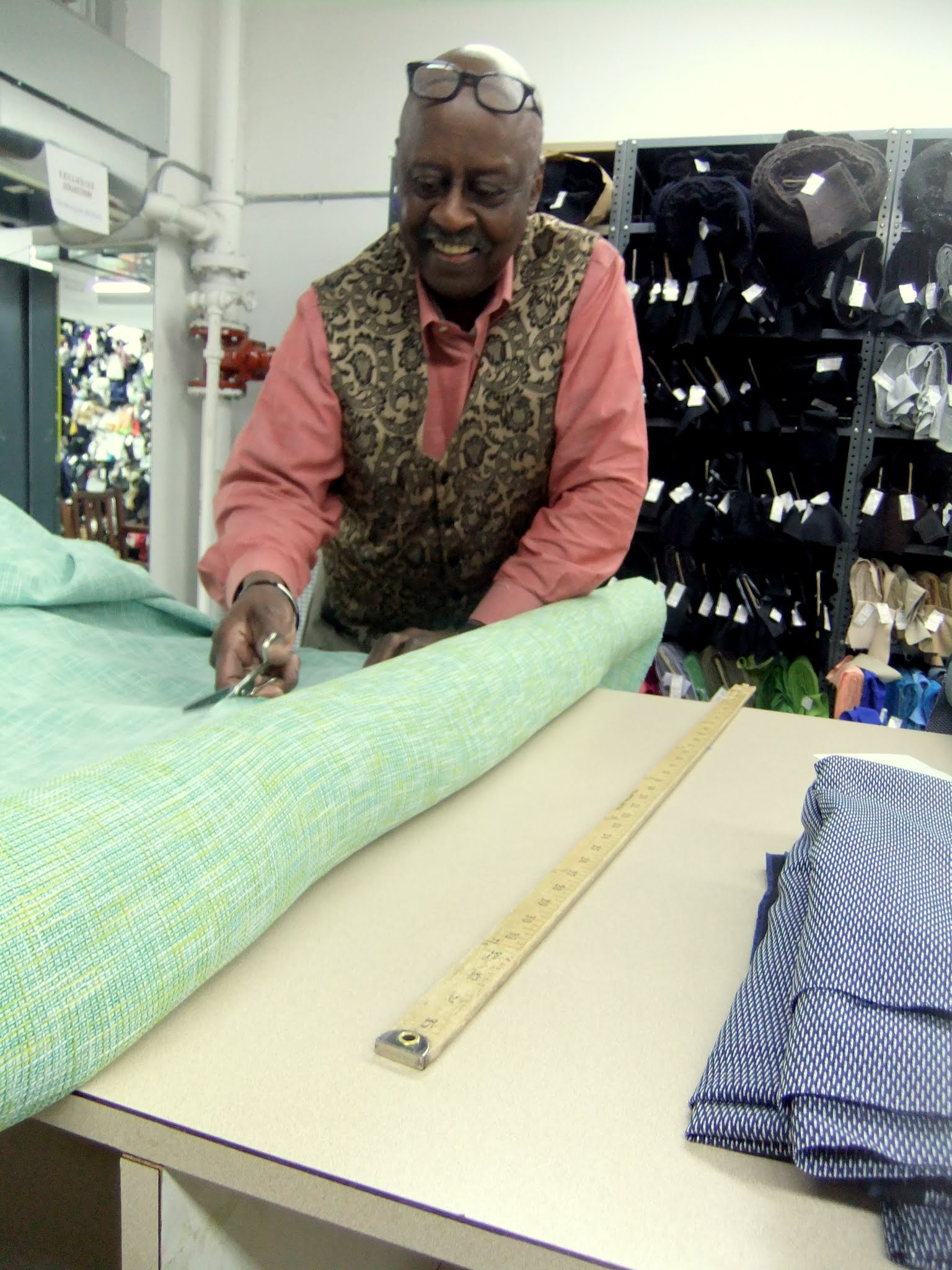 """Photo: """"You makin' a dress? Mm-mm, them bugs in the park will LURVE YOU, yes they will!"""", said the best man in the world in a singing Southern accent down at Paron Fabrics, and continued: """"You from London? The Bridge fallen down yet?""""."""