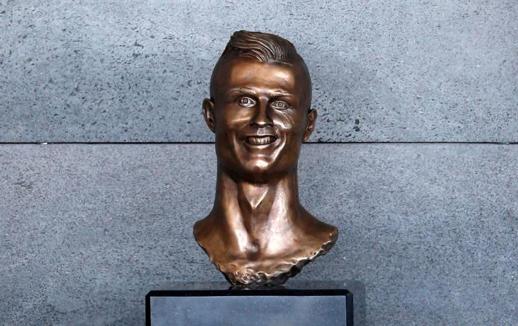 A bust of Cristiano Ronaldo is seen before the ceremony to rename Funchal Airport as Cristiano Ronaldo Airport in Funchal, Portugal. REUTERS