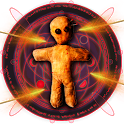 Magicians magic game. Wizard voodoo doll. Prank icon