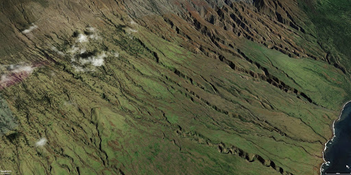 Google Earth view of southern slopes of Mount Haleakala on Maui, Hawaii (2019)