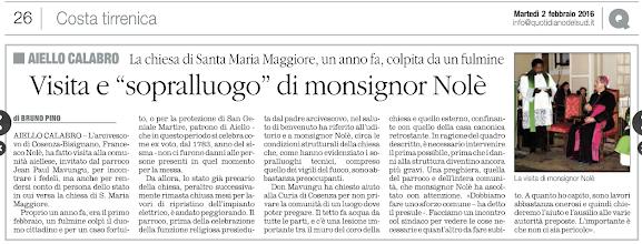 Photo: Il Quotidiano del Sud 2 febbraio 2016, pag. 26