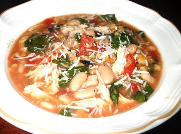 Chicken, White Bean, Spinach & Parmesan Soup Recipe