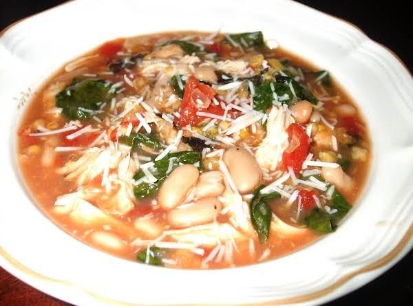 Chicken, White Bean, Spinach & Parmesan Soup