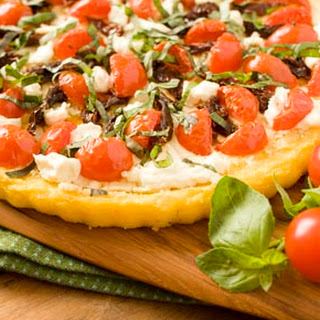 Polenta Tart with Tomatoes and Goat Cheese.