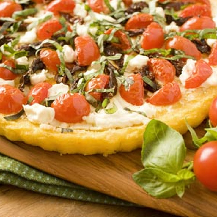 Polenta Tart with Tomatoes and Goat Cheese