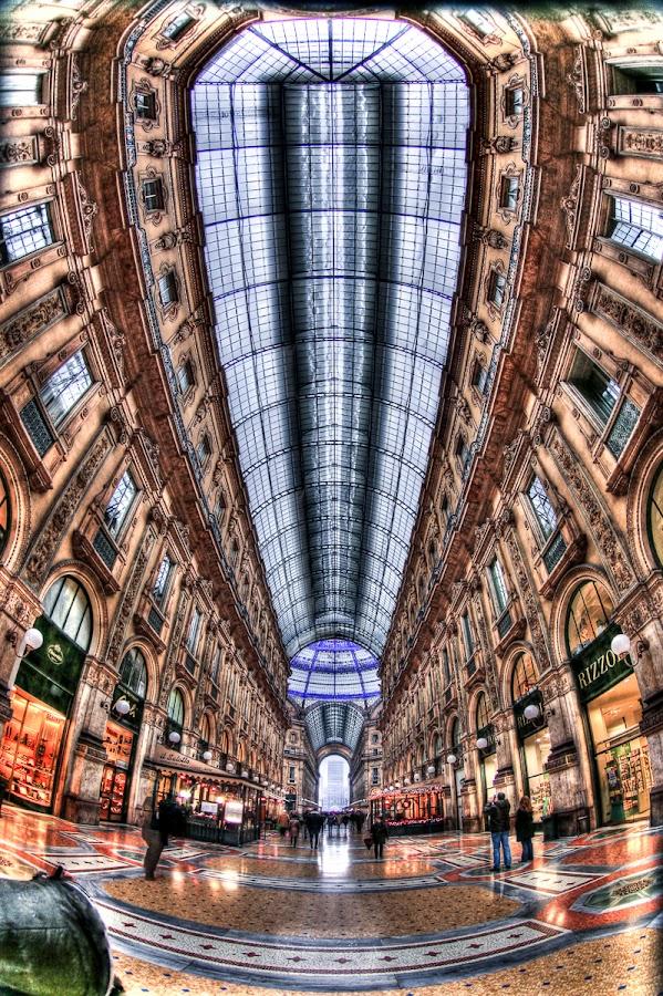 Milan Gallery by Luca Libralato - Buildings & Architecture Public & Historical ( milan, fisheye, vittorio emanuele, gallery, shops )
