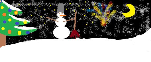 Photo: Грибова Марина, 5 класс, Кожинская СОШ. «Мои зимние каникулы» На моем рисунке я нарисовала Новогоднюю ночь когда небо озарилось огнями салютов.