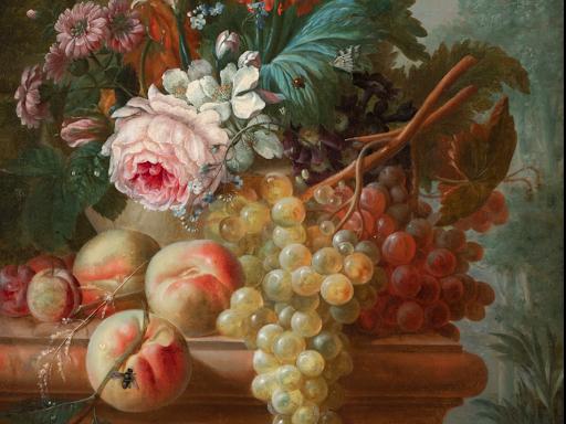 Segoura Fine Art - François-Nicolas Laurent - Fleurs et Fruits sur un Entablement de Pierre