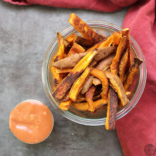 Curried Sweet Potato Oven Fries with Creamy Cumin Ketchup