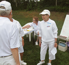 Photo: Tournament Director Nancy speaking with players