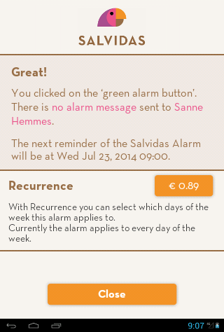 Salvidas Alarm - green button- screenshot