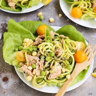 Lemon Pepper Salmon and Zucchini Noodle Salad Cups