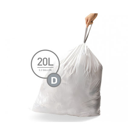 Avfallspåsar till Simplehuman 3 x pack med 20 påsar(60-påsar)  TYP D