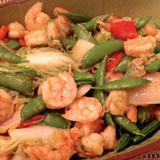 Shrimp With Bok Choy, Sriracha and Shirataki Noodles.