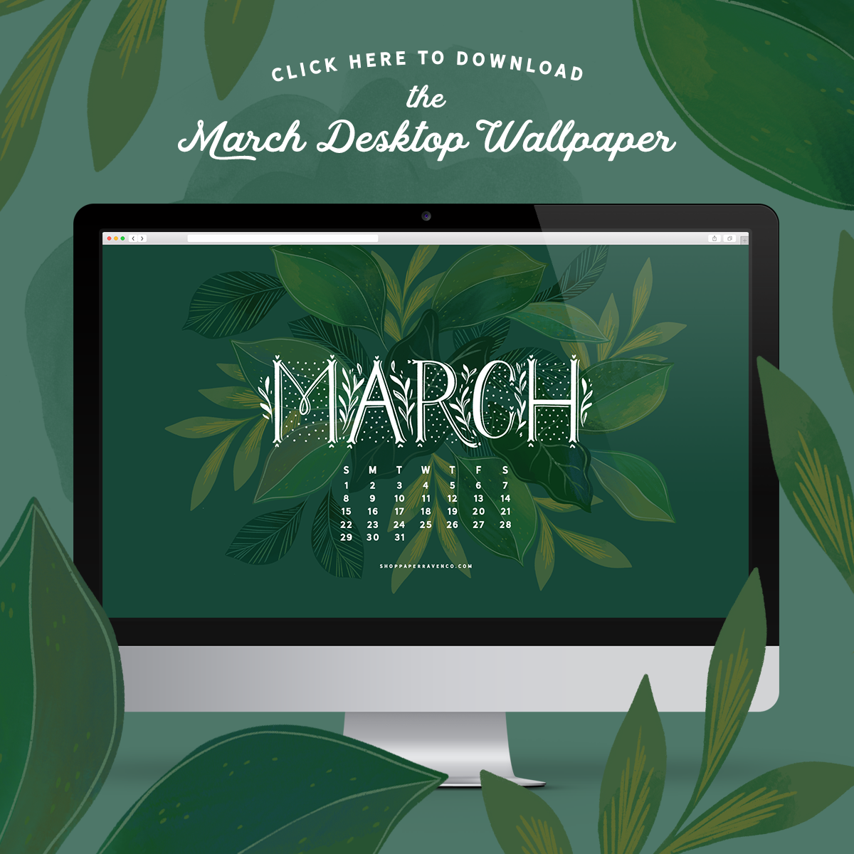 March 2020 Desktop Illustrated Wallpaper by Paper Raven Co. | www.ShopPaperRavenCo.com | #dressyourtech #desktopwallpaper #desktopdownload