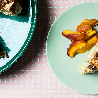 Walnut Torte with Roasted Peaches