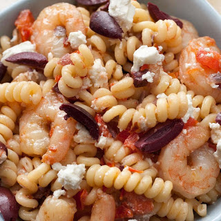 Greek Pasta with Shrimp, Feta, Tomatoes, and Olives.