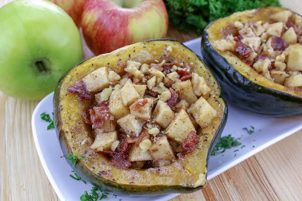 Apple Walnut Acorn Squash On A White Serving Plate.
