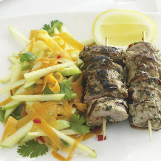Spicy Pork Kebabs with Apple Slaw
