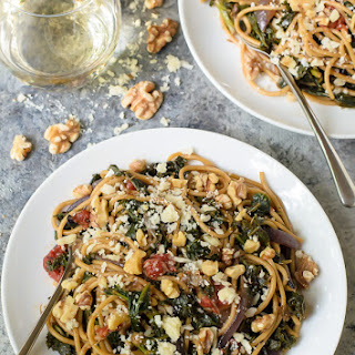 Kale Pasta with Walnuts and Parmesan.