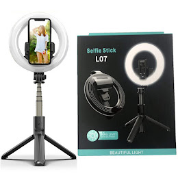 Inel trepied Selfie Stick Bluetooth L07, portabil, LED 5 inch, 90 cm