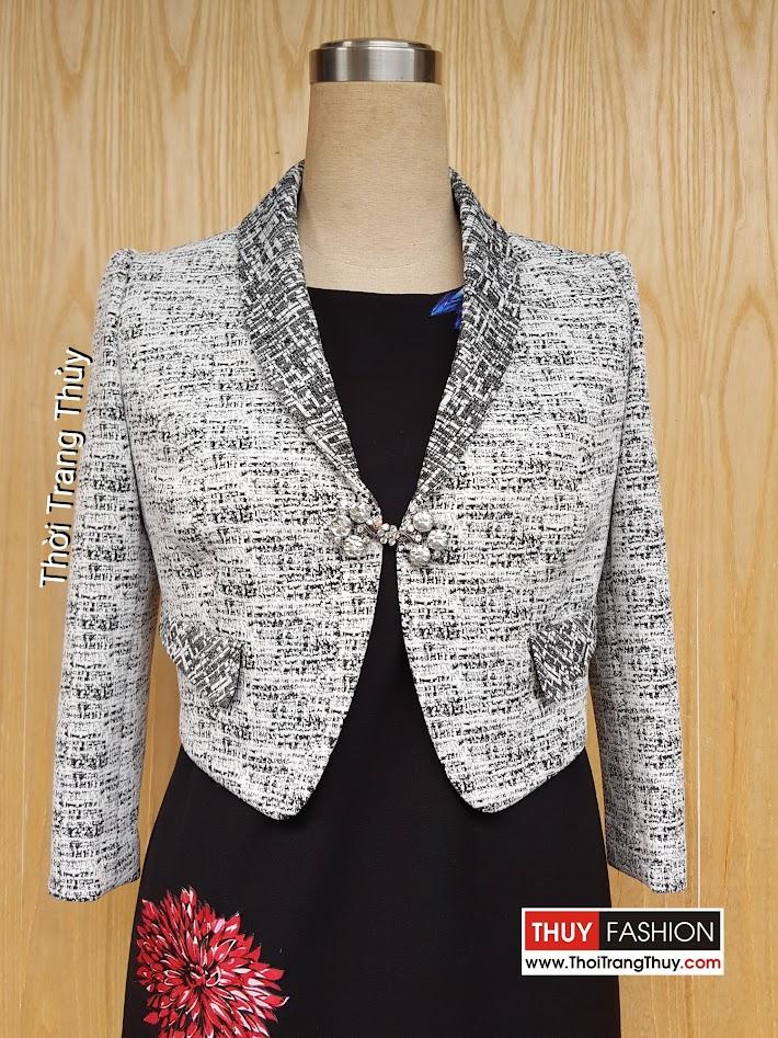 Áo vest cộc dài tay cổ vạt bầu vải thu đông V468 tại Thời Trang Thủy