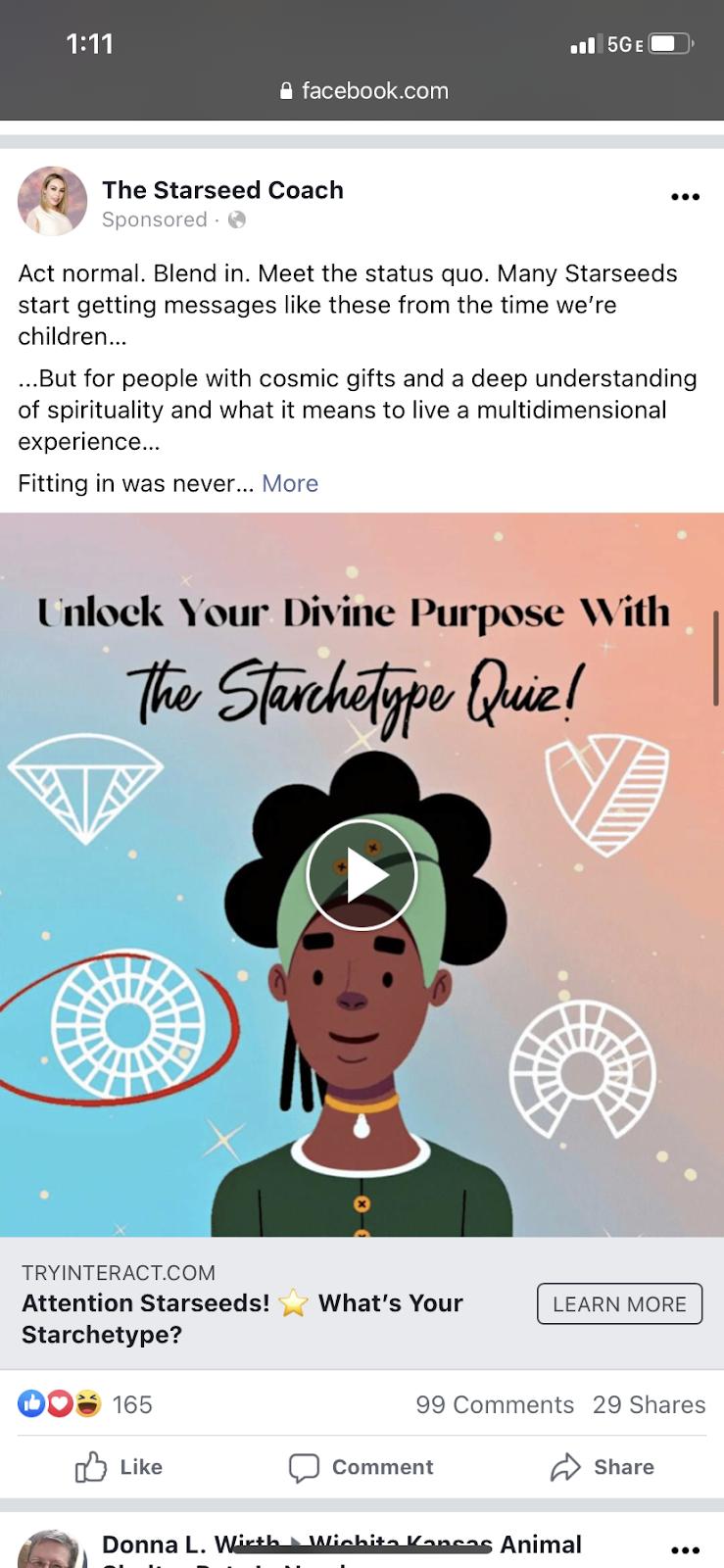 Facebook ad of quiz