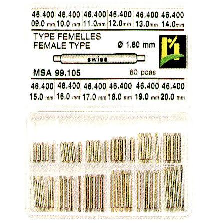 SORT. NEGATIVA BANDSTIFT 9-20 MM, DIAM 1,8MM, 60 ST
